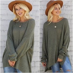 Olive Slouchy Knit Lightweight Sweater